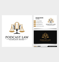 Attorney and law justice podcast mic logo design vector