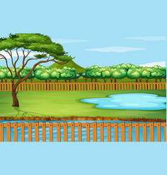 background scene with tree and pond vector image