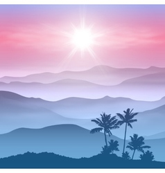 Background with palm tree and mountains in the fog vector