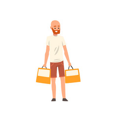 Bald bearded man standing with shopping bags guy vector