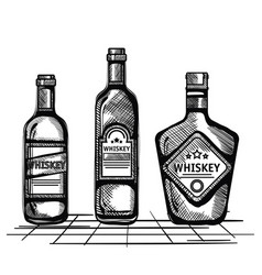 best whiskey set bottles drawn vector image