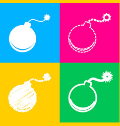 bomb sign four styles of icon on vector image
