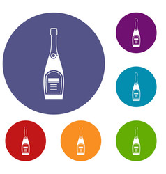 Bottle of champagne icons set vector