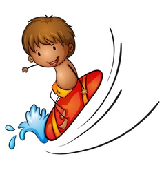 Boy and surfing vector image