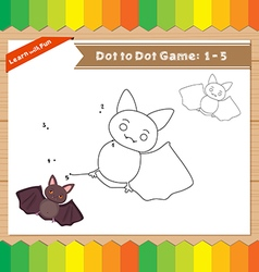 Cartoon Bat Dot to dot educational game for kids vector image