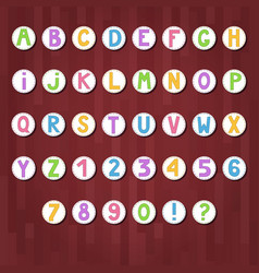 Cartoon colored alphabet letters and numbers in vector