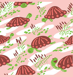 Cartoon turtles in the reeds seamless pattern vector