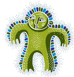 Character monster flat cute happy green mut vector image