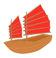 Chinese ship icon cartoon style vector image
