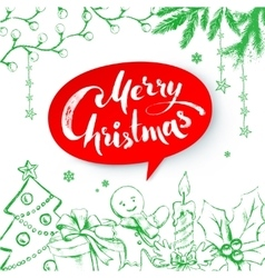 christmas with lettering vector image