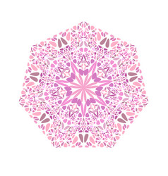 Colorful abstract ornate floral mosaic heptagon vector