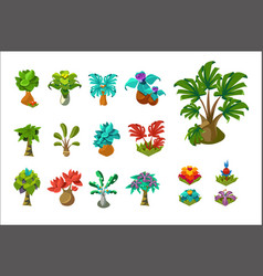 Colorful fantasy tropical trees and plants nature vector