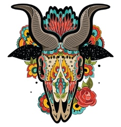 Colorful Goat Skull vector image