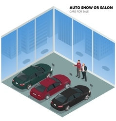 Commercially colorful cars stand in car shop Cars vector