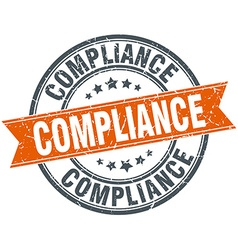 Compliance round orange grungy vintage isolated vector