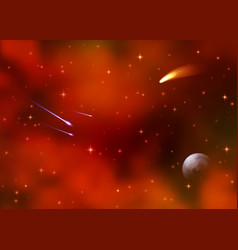cosmic red galaxy background nebula milky way vector image