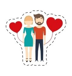 Couple romantic cheerful red hearts balloon vector