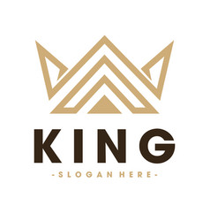 Crown and royal and king logo design vector