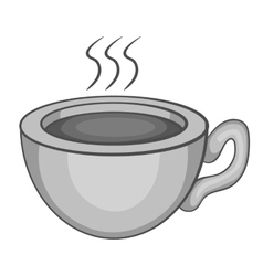 Cup of hot tea icon gray monochrome style vector