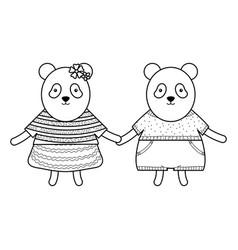 Cute bears pandas couple childish characters vector