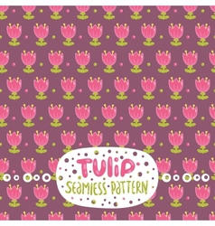 Cute cartoon tulip seamless pattern vector image