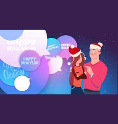 cute couple in santa hats embracing over chat vector image