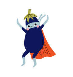 Cute superhero eggplant in mask and cape funny vector