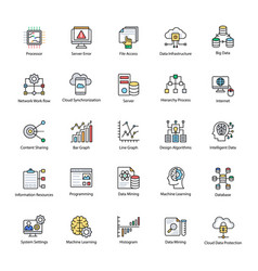 data science flat set vector image