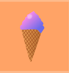 delicious colorful ice cream in waffle cone vector image