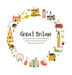 design with famous symbols great britain vector image