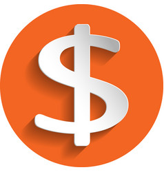 dollar icon paper style vector image