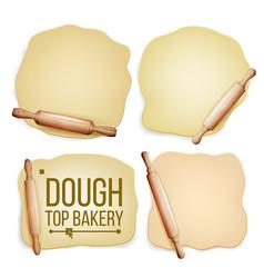 Dough set wooden rolling pin fresh raw vector