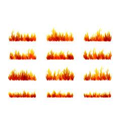 Fire borders design collection horizontal vector