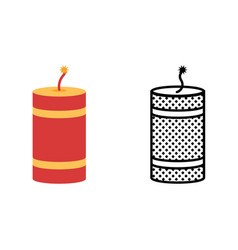 Firecracker icon set pyrotechnics symbol vector