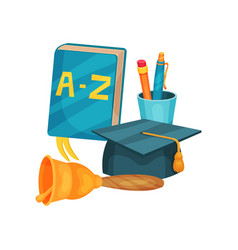 flat icons of school supplies abc vector image