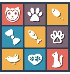 Flat pet cat icons set vector image