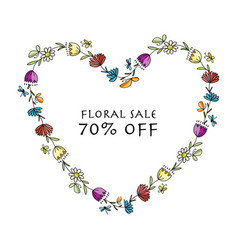 floral heart shape banner for your design vector image