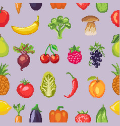 fruits pixel vegetables healthy nutrition vector image