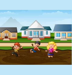 Funny children playing a mud puddle in rural b vector