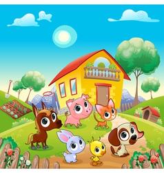 Funny farm animals in garden vector