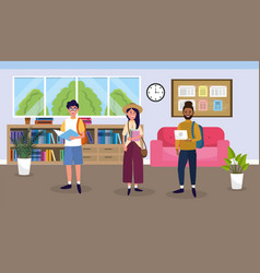 girl and boy in the education library to knowledge vector image