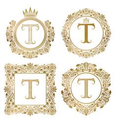 Golden letter t vintage monograms set heraldic vector