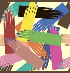 hands palms seamless pop art pattern vector image