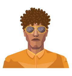 Handsome guy with short curly hair on white vector