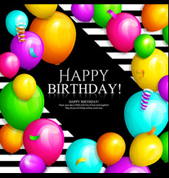 Happy birthday card bunch colorful balloons vector