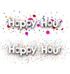 Happy hour paper banners vector