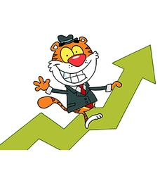 Happy Tiger Riding On Success vector image