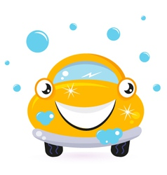 Happy yellow car wash vector image
