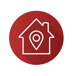 House location flat linear long shadow icon vector