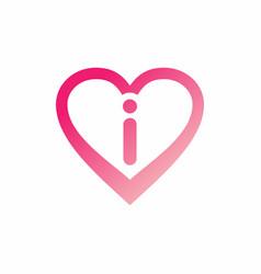 i letter in pink love sign logo vector image